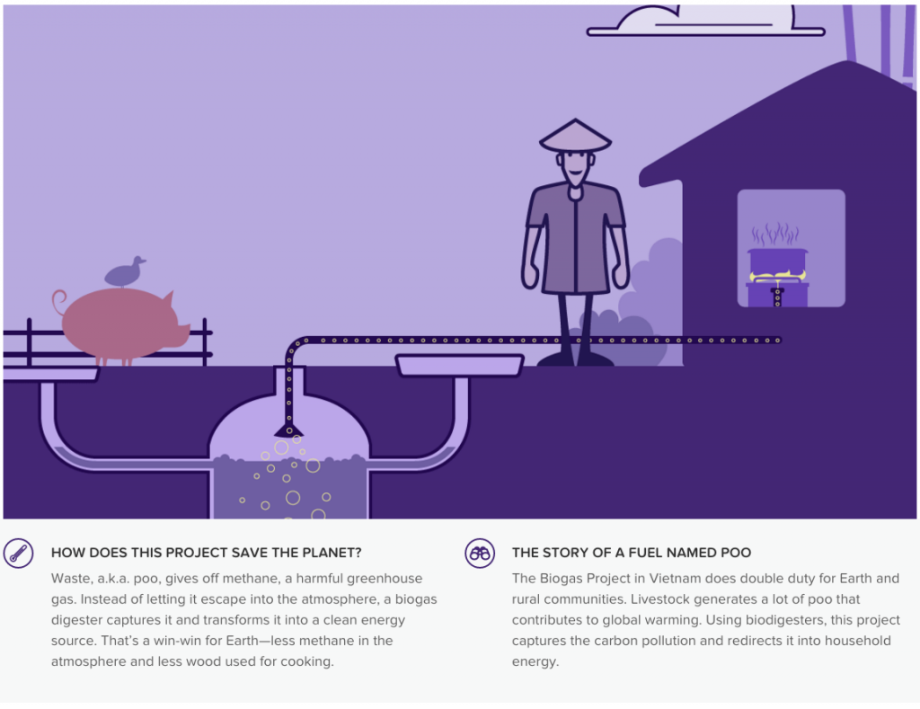"A screenshot from the Cool Effect platform describing a biogas project in Vietnam. It uses a bit of humor to tell ""the story of a fuel named poo."""